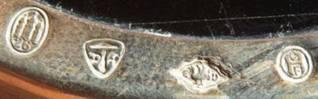 2 подставки в серебряной оправе под горячее, Дания